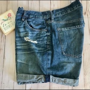 Old Navy Boyfriend Ripped Blue Jeans Shorts/14